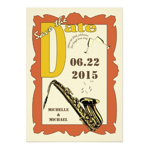 Vintage Style Jazz Save the Date Custom Invites
