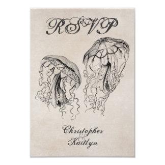 Vintage Style Jellyfish Beach Wedding RSVP Card