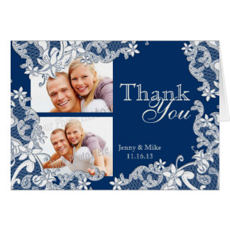 Vintage Style Lace Blue Photo Thank You Stationery Note Card