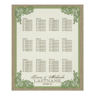 Vintage Style Lace Design Green Posters