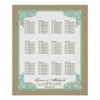 Vintage Style Lace Design Seafoam Green 2 Posters