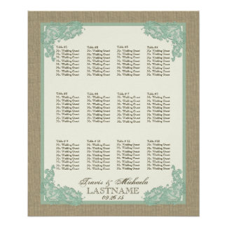 Vintage Style Lace Design Seafoam Green Poster