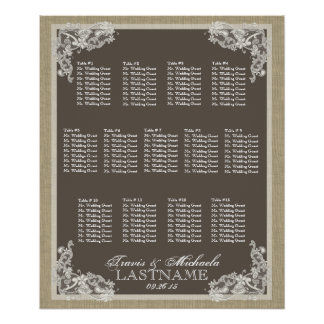 Vintage Style Lace Design Seating Chart Poster