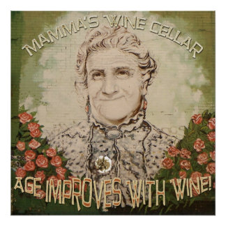 Vintage Style Mamma's Wine Poster! Poster