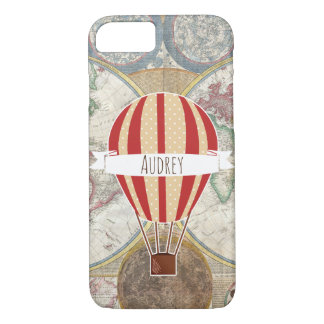 Vintage Style Map Red Hot Air Balloon iPhone 8/7 Case