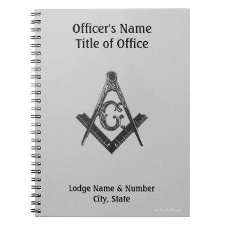 Vintage Style Masonic Lodge Officer's Notebook