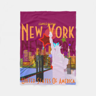 Vintage style New York Travel Fleece Blanket