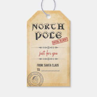 Vintage Style North Pole Christmas Gift Tags