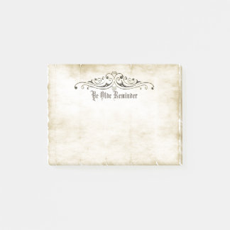 "Vintage Style Old Parchment ""Ye Olde Reminder"" Post-it Notes"