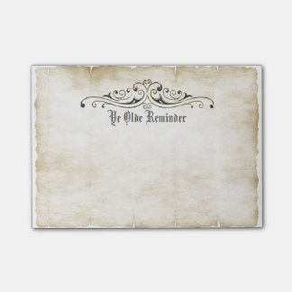 "Vintage Style Old Parchment ""Ye Olde Reminder"" Post-it® Notes"