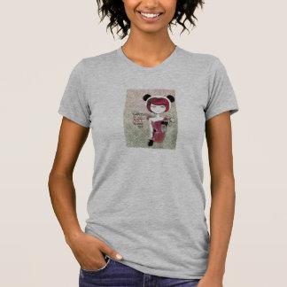 vintage style panda girl design t shirt