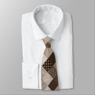 vintage style patchwork fabric design sepia tie