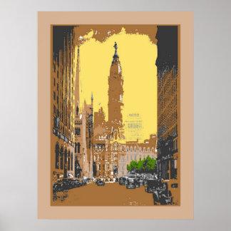 Vintage Style Philadelphia City Hall Poster
