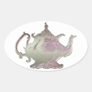 Vintage Style Pink Teapot Oval Sticker