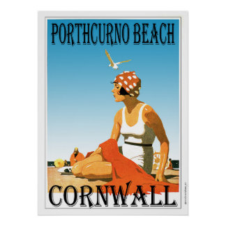 Vintage style Porthcurno Beach Poster