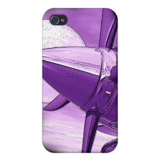 Vintage style Purple Aircraft I - Phone Case Case For iPhone 4