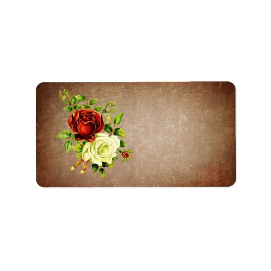 Vintage style red and yellow roses label