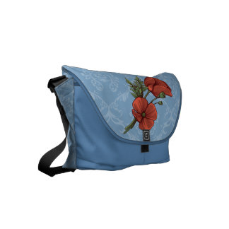 Vintage Style Red Poppies on Dusk Blue Damask Messenger Bags