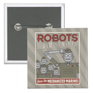 Vintage Style Robot Military Propaganda 15 Cm Square Badge
