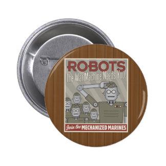 Vintage Style Robot Military Propaganda 6 Cm Round Badge