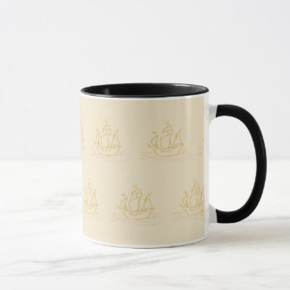 Vintage Style Sailing Ship Pattern, Beige Color. Mug