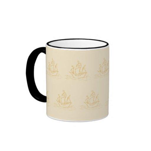 Vintage Style Sailing Ship Pattern, Beige Color. Coffee Mug