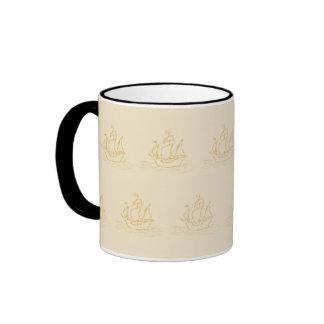 Vintage Style Sailing Ship Pattern, Beige Color. Ringer Mug