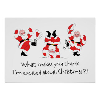 Vintage Style Santa Claus Excited About Christmas Print