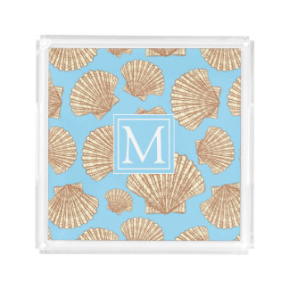 Vintage Style Seashell Pattern | Add Your Initial Acrylic Tray