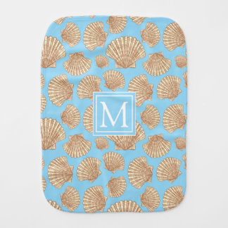 Vintage Style Seashell Pattern | Add Your Initial Burp Cloth