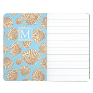 Vintage Style Seashell Pattern | Add Your Initial Journal