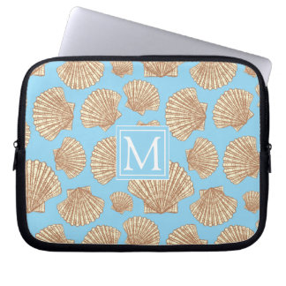 Vintage Style Seashell Pattern | Add Your Initial Laptop Sleeve