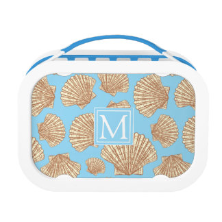 Vintage Style Seashell Pattern | Add Your Initial Lunch Box
