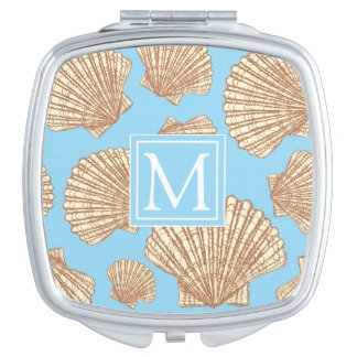Vintage Style Seashell Pattern | Add Your Initial Mirror For Makeup