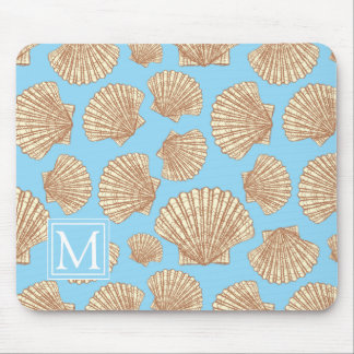 Vintage Style Seashell Pattern | Add Your Initial Mouse Mat