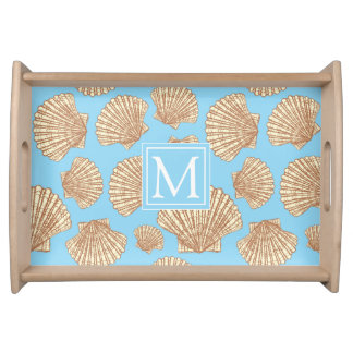 Vintage Style Seashell Pattern | Add Your Initial Serving Tray
