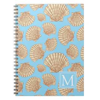 Vintage Style Seashell Pattern | Add Your Initial Spiral Notebook