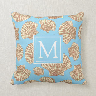 Vintage Style Seashell Pattern | Add Your Initial Throw Pillow
