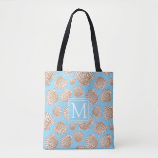 Vintage Style Seashell Pattern | Add Your Initial Tote Bag