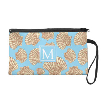 Vintage Style Seashell Pattern | Add Your Initial Wristlet