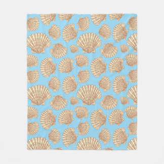 Vintage Style Seashell Pattern Fleece Blanket
