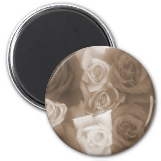 Vintage Style Sepia Roses 6 Cm Round Magnet