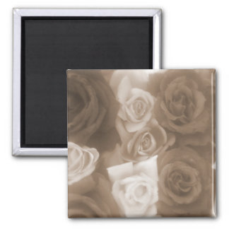 Vintage Style Sepia Roses Square Magnet