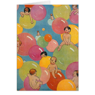 Vintage Style Shower of Babies on Colorful Bubbles Greeting Card