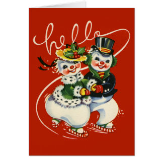 Vintage-Style Skating Snowmen Christmas Card