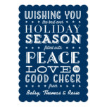 Vintage Style Stacked Type Holiday Navy Blue 13 Cm X 18 Cm Invitation Card