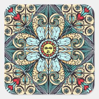 Vintage Style Sun Mandala Stickers