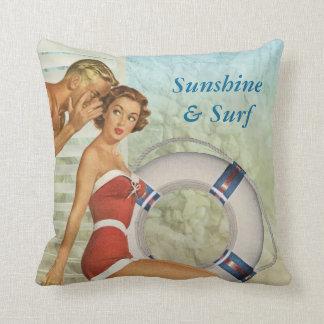 Vintage style sunshine & surf cushion
