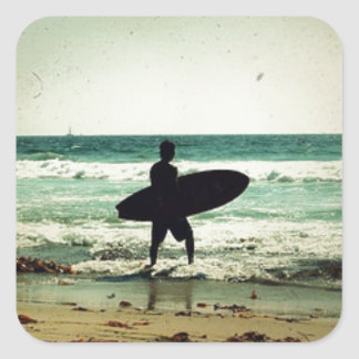 Vintage Style Surfer Silhouette Square Sticker