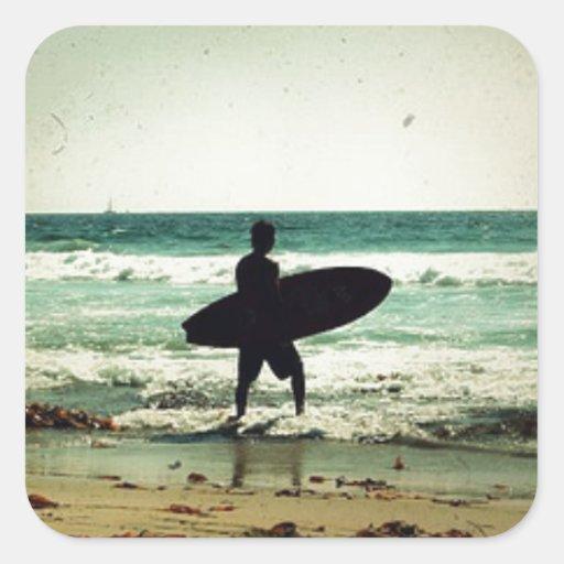 Vintage Style Surfer Silhouette Sticker